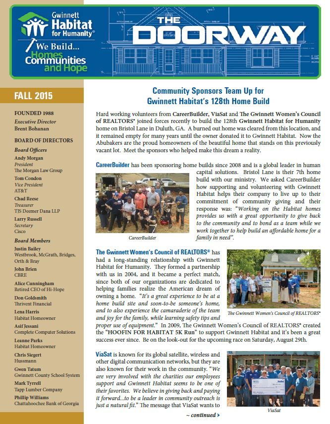 GHFH - Newsletter - Fall 2015